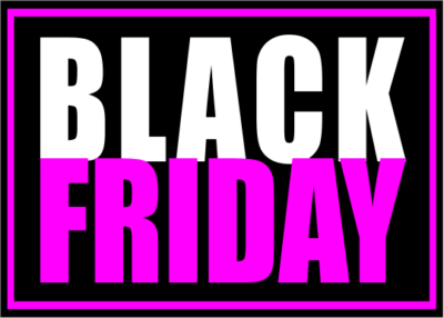Cartel Black friday negro y fucsia