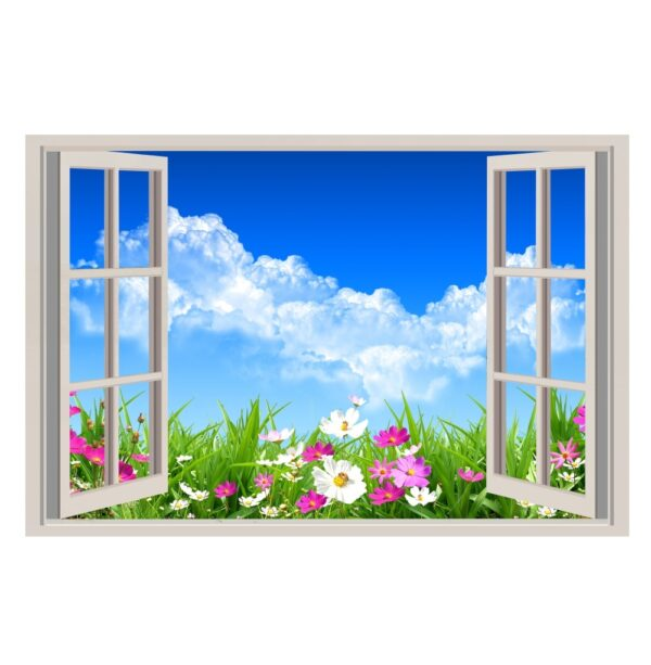 ventana falsa decorativa flores