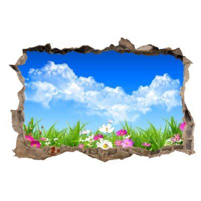 Vinilo efecto agujero paisaje floral