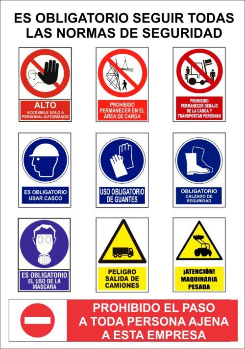 cartel normas seguridad obras