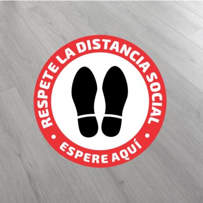 pegatina redonda distancia seguridad